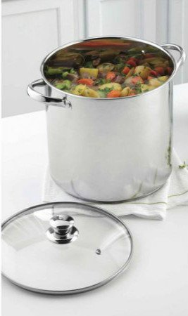 Mainstays Tri-Ply Stainless Steel 12-Quart Stockpot with Heat and Shatter Resistant Glass Lid