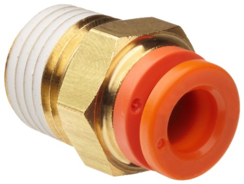 SMC KQ2H07-35AS Brass Push-to-Connect Tube Fitting with Sealant, Adapter, 1/4&quot; Tube OD x 1/4&quot; NPT Male