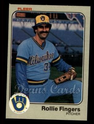 1983 Fleer # 33 Rollie Fingers Milwaukee Brewers (Baseball Card) Dean's Cards 7 - NM