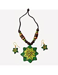 48raft terracotta handmade ethnic jewellery Greedn Monk set for Women