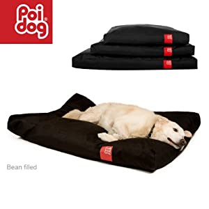 "Poi Dog® Large (41"") Dog Bean Bag - BLACK Poly Canvas Bean Bags for Dogs - Large / Medium Dogs by Poi Dog®"