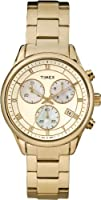 Timex Women's Quartz Watch with Gold Dial Analogue Display and Gold Stainless Steel Bracelet T2P159AU