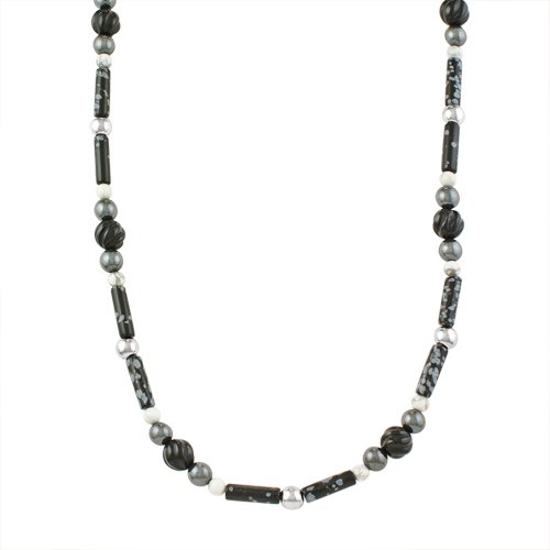 Sterling Silver Black and White Beaded Necklace with Bear and Feather Drop