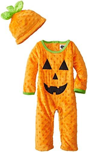 Mud Pie Unisex-Baby Newborn Pumpkin One Piece And Hat, Orange, 3-6 Months front-1033863