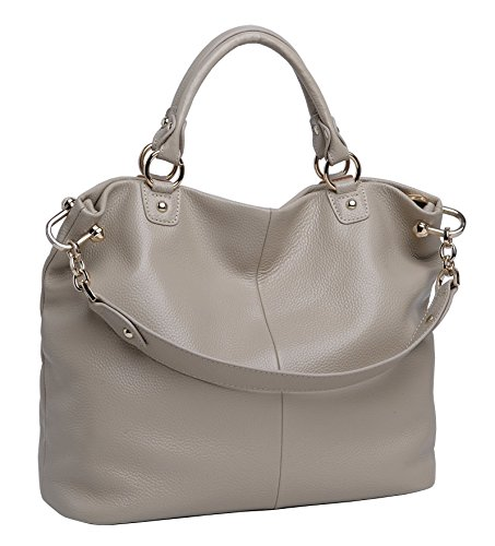 Image of Cecilia Women's Handbag Genuine Leather Tote Shoulder Bags Light-grey
