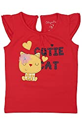 Chirpie Pie by Pantaloons Girl's Round Neck T-Shirt (205000005610482, Red, 12-18 Months)