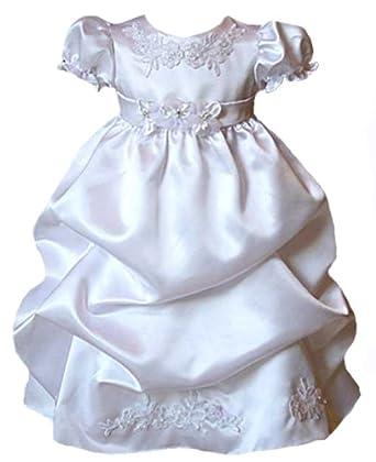 987691f9b KID Collection Baby-Girls Satin Puffed Skirt Christening Baptism Dress &  Bonnet