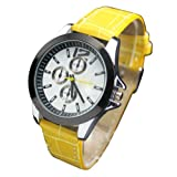 WLM Unisex Girls Boys Attractive Special Dial New Cool Sports Wrist Watch Yellow Band