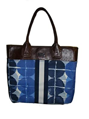 Tommy Hilfiger Women's Logo Items Tote, Large, Blue/White Print