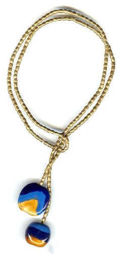Lariat Necklace - Hand Forged Brass and Gorgeous Blues & Honey Kazuri