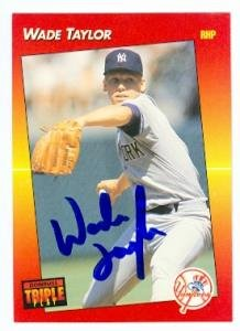 Wade Taylor autographed baseball card (New York Yankees) 1992 Donruss Triple Play #96