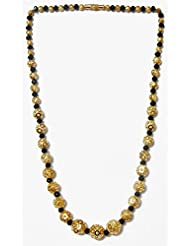 DollsofIndia Black Crystal With Gold Plated Bead Necklace - Metal And Stone - Black, Golden
