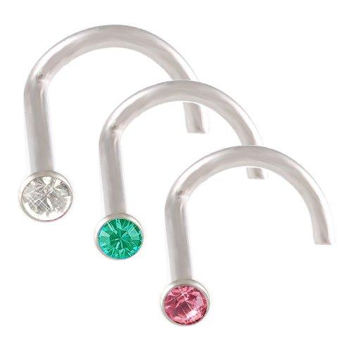 18g 18 gauge 1mm Steel nose rings bones studs screws bars Crystals JAFI Body Piercing Jewellery 3pcs