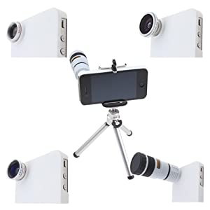 AGPtek® 4 in 1 Camera Lens with Tripod and Hard Case for iPhone 4 4G 4S 5 5G Samsung galaxy S III / S3 i9300 (8X White Telephoto, Fish Eye, Wide Angle + Micro)