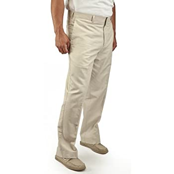 Slim Fit Cotton Natural Linen Flat Front Pant by Cubavera