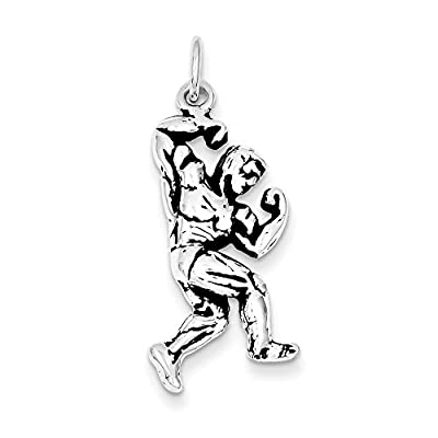 Sterling Silver Antiqued Body Building Charm