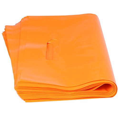 YOUKEE 50pcs Orange Large Plastic Merchandise Shopping Bags with Die Cut Handle,35x25cm (Extra Large Merchandise Bags compare prices)