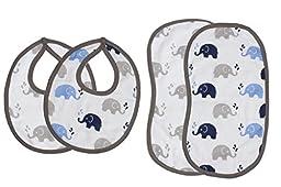 Bacati Elephants Muslin 4 Piece Set of Burpies or Bibs, Blue/Grey