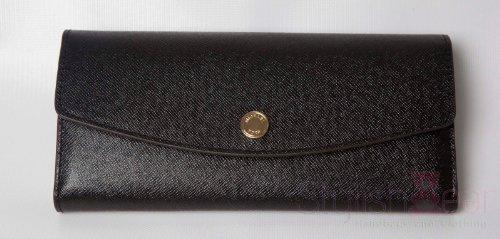 Michael Kors Color Block Saffiano Wallet Black/White/Neon Yellow