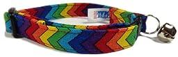 Breakaway Cat Collar in Rainbow Chevrons (U.S.A. Made)