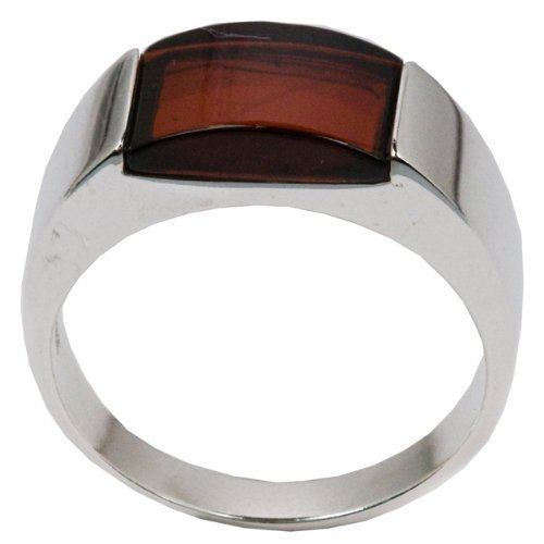 Baltic Cherry Amber and Sterling Silver Rectangular Mens Ring Sizes J, L, N, P, Q, S, T, V