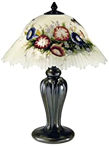 Dale Tiffany 10190/706 Hummingbird/Flower Table Lamp, Antique Bronze and Glass/Handpainted Shade