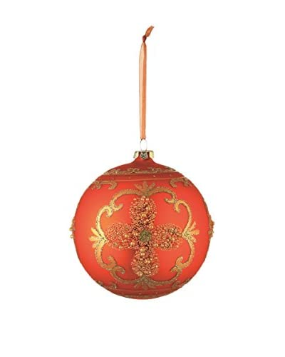 Napa Home & Garden Ornate Glass Ball Ornament, Orange
