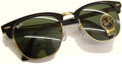 Ray Ban Clubmaster Originals Sunglasses - New 51mm lens size - Model no. 3016 - Black/Gold (Arista) Frame with Safety Toughened GLASS G15 XLT Lens Color Code W0365 - Brand New from Authorized Ray Ban Dealer