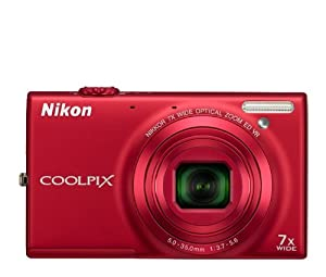 Nikon COOLPIX S6100 16 MP Digital Camera with 7x NIKKOR Wide-Angle Optical Zoom Lens and 3-Inch Touch-Panel LCD (Red)