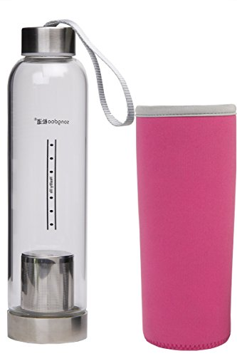 Le Juvo 17 Oz Glass Bottle With Soft Cover Sleeve And Metal Lid - Pink