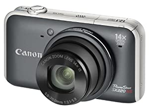Canon PowerShot SX220 HS Digital Camera - Grey (12.1MP, 14x Optical Zoom)  3.0 inch LCD