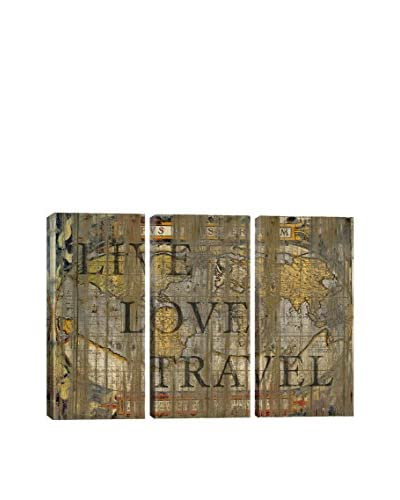Diego Tirigall Live Love Travel Gallery Wrapped Triptych Canvas Print