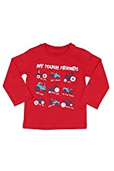 Chirpie Pie by Pantaloons Boy's Round Neck T-Shirt (205000005609852, Red, 12-18 Months)