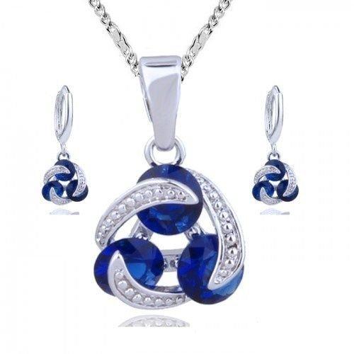 Crystalline - Parure composta da collana e orecchini placcato oro bianco 18 K con cristalli Swarovski e fini zaffiri blu