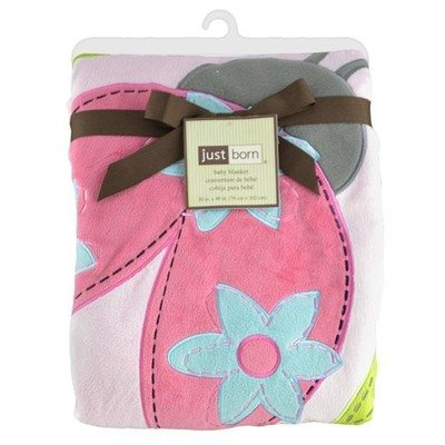 Triboro 41524L Just Born Jumbo 3d Valboa Applique Blanket - Pink Ladybug - 1
