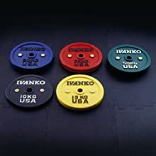 Ivanko Calibrated Colored Bumper Plates - 20 kg pair for Olympic Bars and Powerlifting Bars