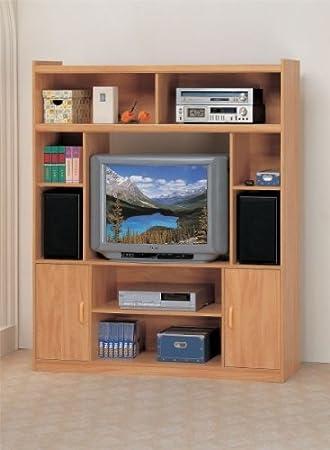 Contemporary Oak Wood Finish Multi Media Center by Poundex