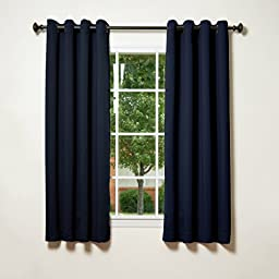 Best Home Fashion Thermal Insulated Blackout Curtains - Antique Bronze Grommet Top - Navy - 52\