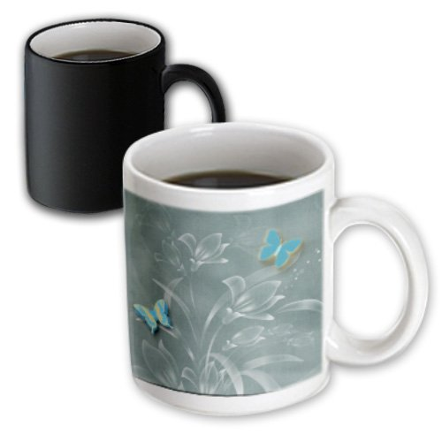 Mug_128913_3 Spiritual Awakenings Patterns - Pretty Damask Background In Sage Greens And Butterflies And Flowers - Mugs - 11Oz Magic Transforming Mug
