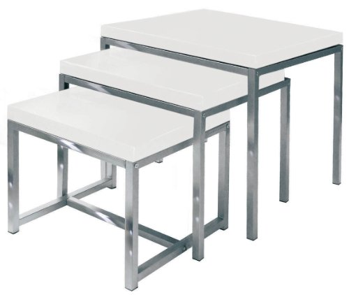 Premier Housewares Nested Tables with Chrome Legs, 50 x 50 x 46 cm, Set of 3, White High Gloss