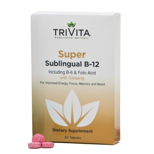 """Super B-12 Slow Dissolve Tablets Includes B-6 & Folic Acid. , U.S. Patented, Made In The U.S.A. Improves Energy, Focus, Memory And Mood. Dr. Libby'S Unique Formula Delivers More Of The """"B"""" You Are Buying. 3000Mcg B-12."""