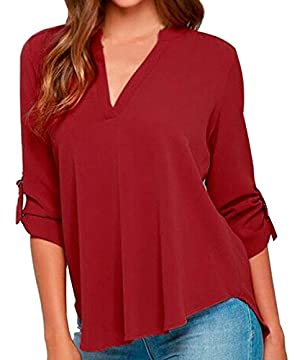 JUST MODEL Womens Casual Chiffon Ladies V-Neck Cuffed Sleeve Blouse Tops L Wine Red