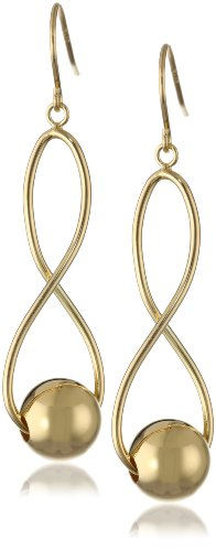 18k Gold over Sterling Silver Infinity Twist Bead Dangle Earrings