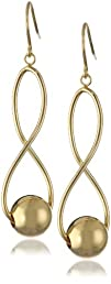 Sterling Silver Infinity Twist Bead Dangle Earrings