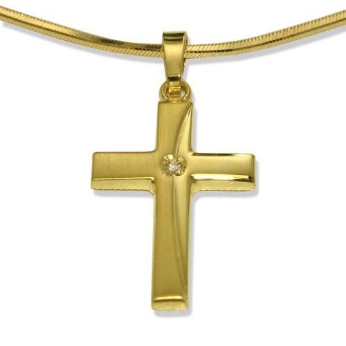 Anh&#228;nger 375/9 K Gelbgold Diamant Kreuz, 1, 0.01ct, w-si 23 mm, Anh&#228;nger&#246;se: 2 mm, Anzahl Steine: 1, Breite: 14 mm, L&#228;nge: 23 mm, Materialst&#228;rke: 1.7 mm, Oberfl&#228;che: mattiert/poliert, Steinfarbe: weiss