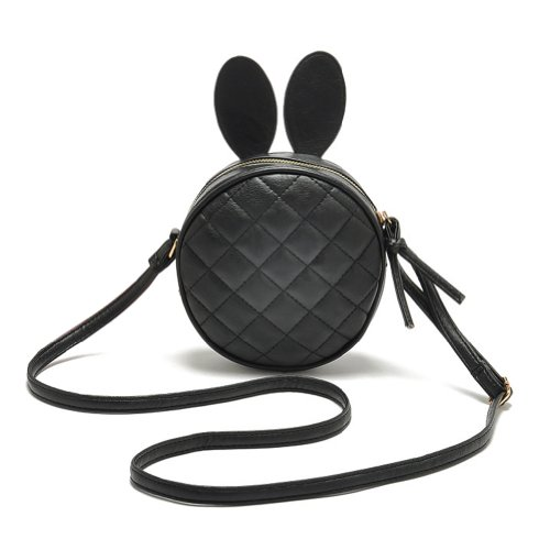 ASOS Girl's Cute Round Crossbody Bag with Rabbit Ear Quilted Shoulder bag - Black