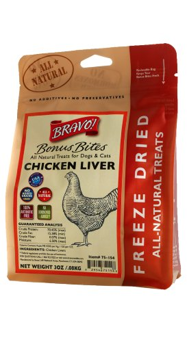 Bravo Bonus Bites Freeze Dried Chicken Livers, 3-Ounce