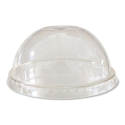 Eco-Products Compostable Cold Drink Cup Lids, Dome, Clear, 1000/Carton