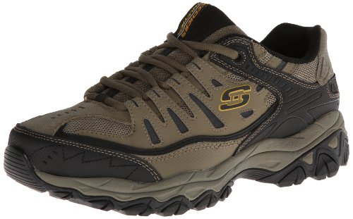Skechers Sport Men's Afterburn Memory Foam Lace-Up Sneaker,Pebble/Black,8.5 4E US