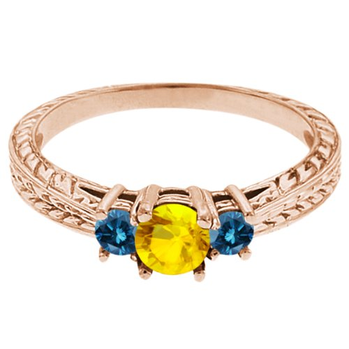 0.60 Ct Round Yellow Sapphire Blue Diamond 14K Rose Gold 3-Stone Ring